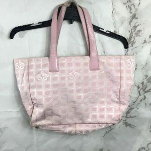 Chanel baby pink travel Line bag purse cc Logo